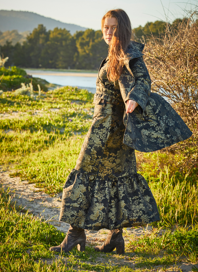 Jeju Shirt, Marcella Jacket, Ruffle Skirt in Black/Gold Tapestry