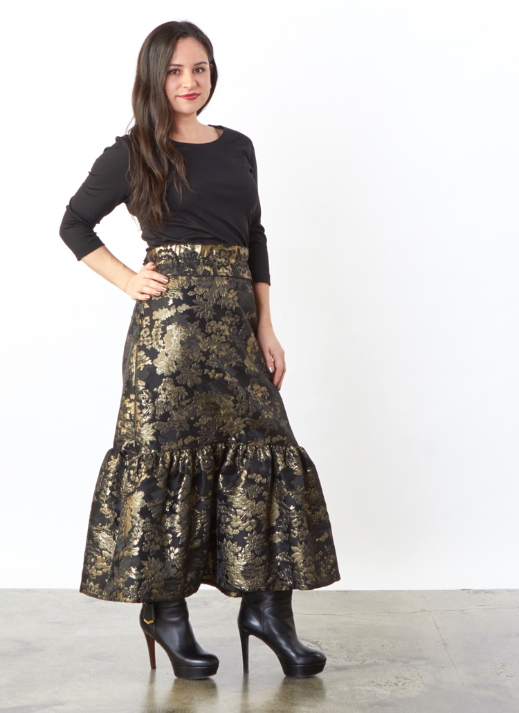 Ruffle Skirt in Black/Gold Tapestry, 3/4 Sleeve Shell in Black Modal Ponti