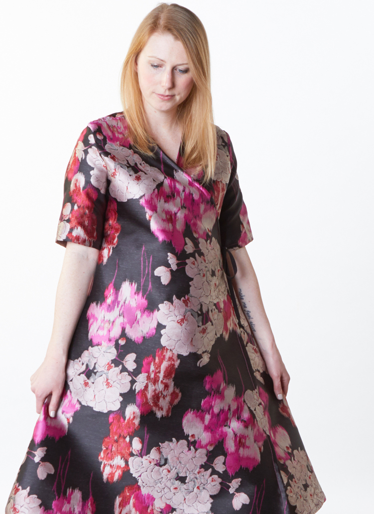 Estelle Dress in Black/Pink Duchesse Jacquard