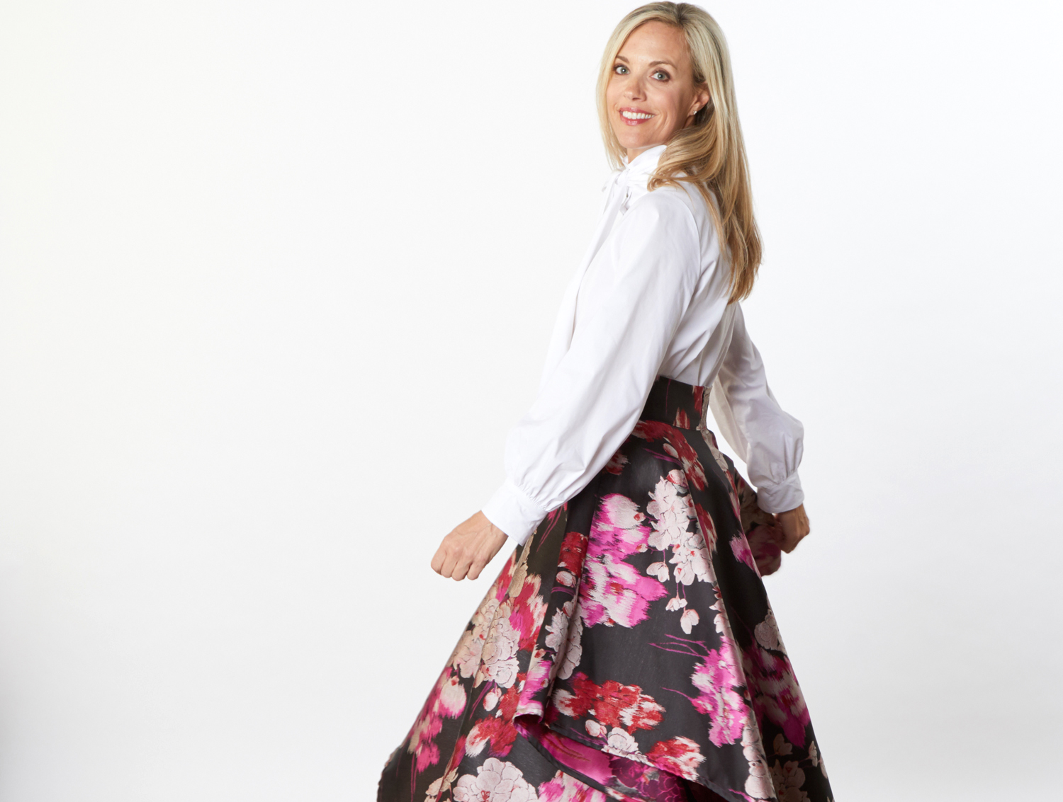 Ribbon Tie Blouse in Stretch Poplin, Grange Zip Skirt in Black/Pink Duchesse Jacquard