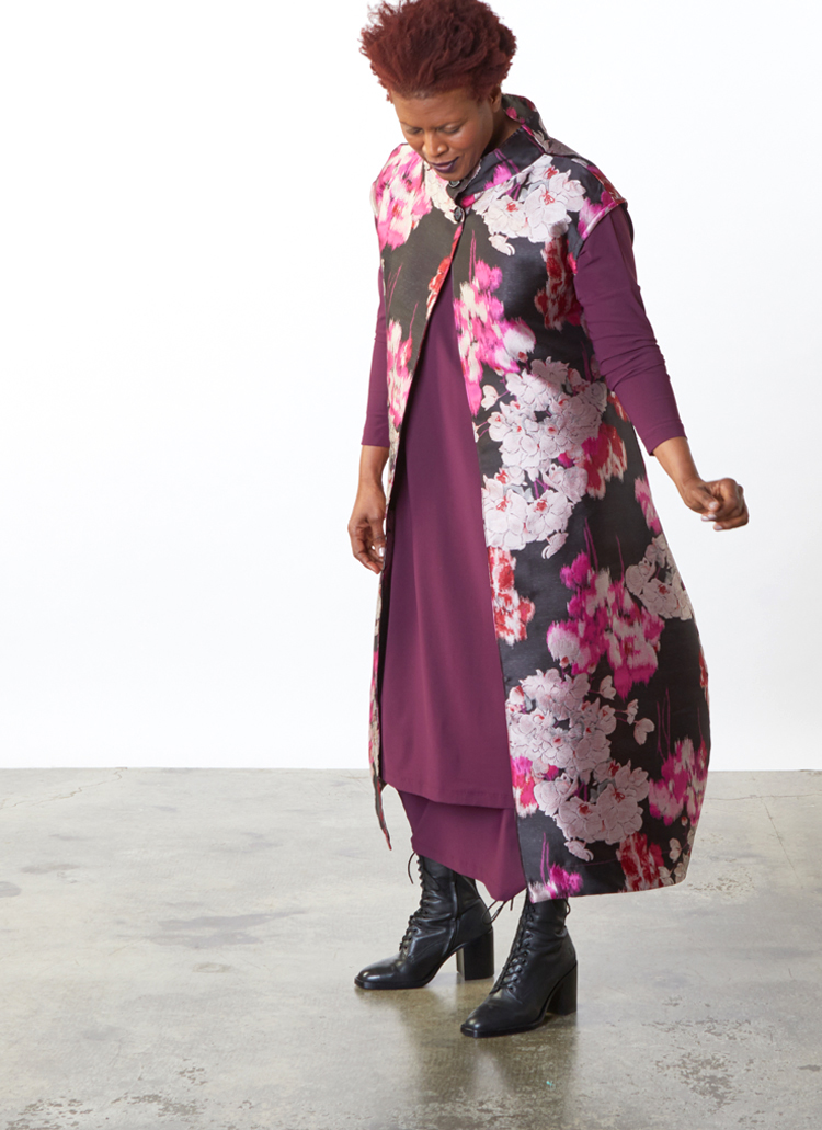 Renato Dress, Hamish Skirt in Burgundy Microfiber Jersey, Gaela Vest in Black/Pink Duchesse Jacquard