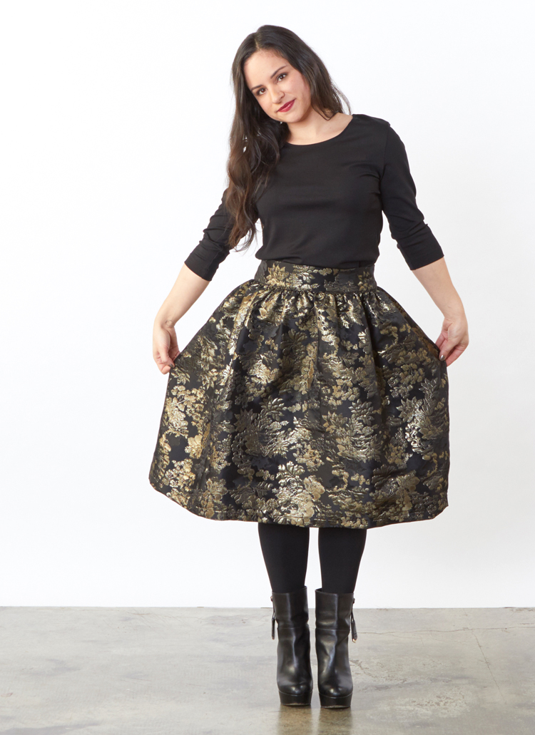 Nabi Skirt in Black/Gold Tapestry, 3/4 Sleeve Shell, Legging in Black Modal Ponti