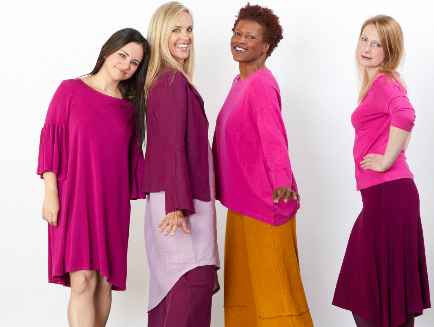 Rivera Tunic in Hyacinth Grey Terry, Eleni Jacket in Kir, S/S Euna Tunic in Rosemallow Light Linen, Evie Shirt in Hyacinth Bamboo Terry, 3/4 Sleeve Shell in Hyacinth Organic Bamboo Cotton, Crop Full Pant in Senape Terry