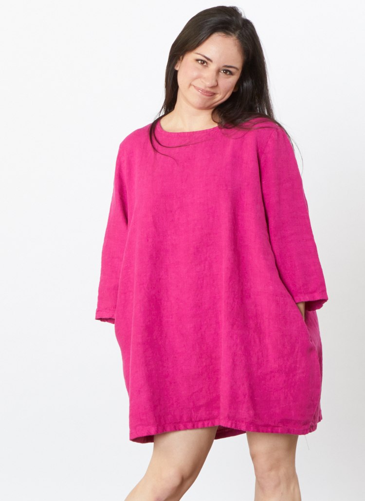 3/4 Sleeve Bubble Tunic in Hyacinth Heavy Linen
