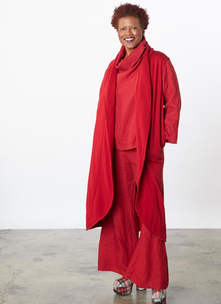 L/S Etta Shirt in Fado Heavy Linen, Long Wrap Vest in Fado Bamboo Fleece, Oscar Pant in Fado Light Linen