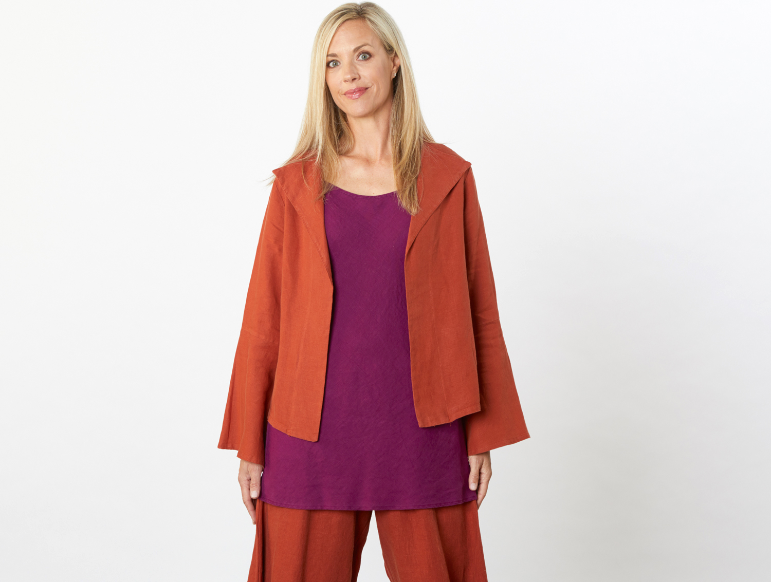 Eleni Jacket in Viceroy, Lucille Tunic in Kir Light Linen, Seamus Pant in Viceroy Heavy Linen
