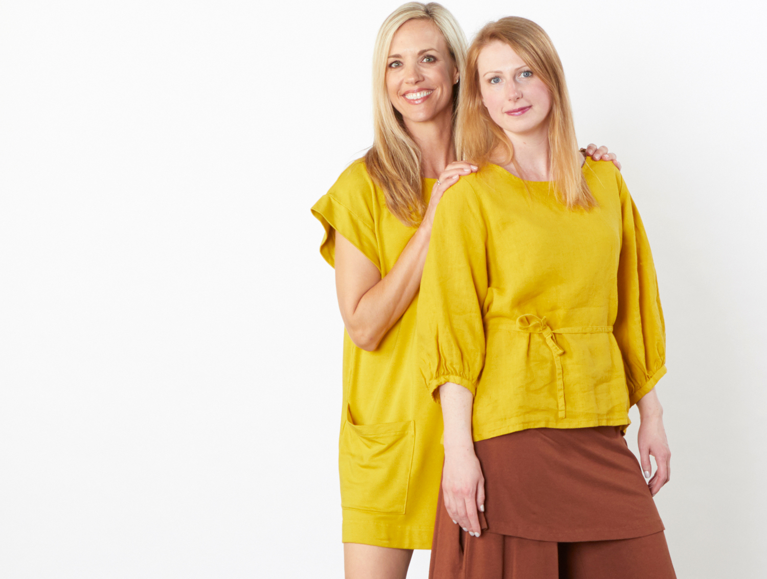 Clyde Tunic in Yuja Bamboo Terry, Cara Shirt in Yuja Light Linen, Eloise Pant in Madeira Bamboo Cotton