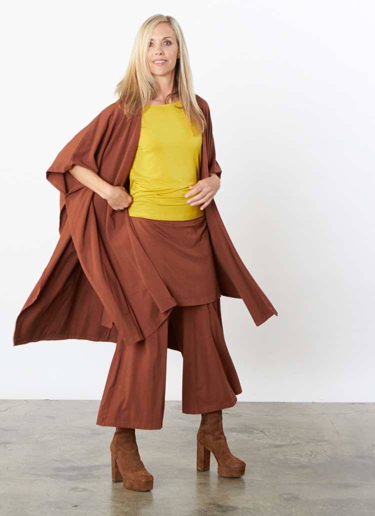Long Wrap Poncho, Eloise Pant in Madeira Bamboo Cotton, L/S Shell in Yuja Micro Modal