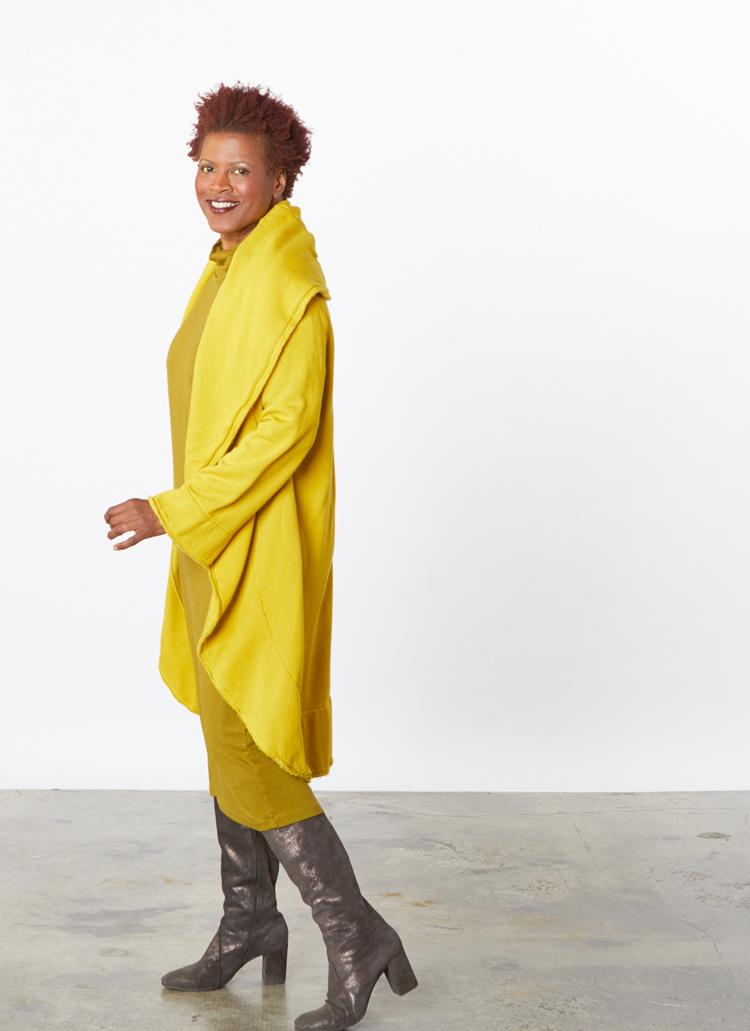 Wrap Coat in Yuja Bamboo Fleece, Ilse Dress in Oolong Grey Terry