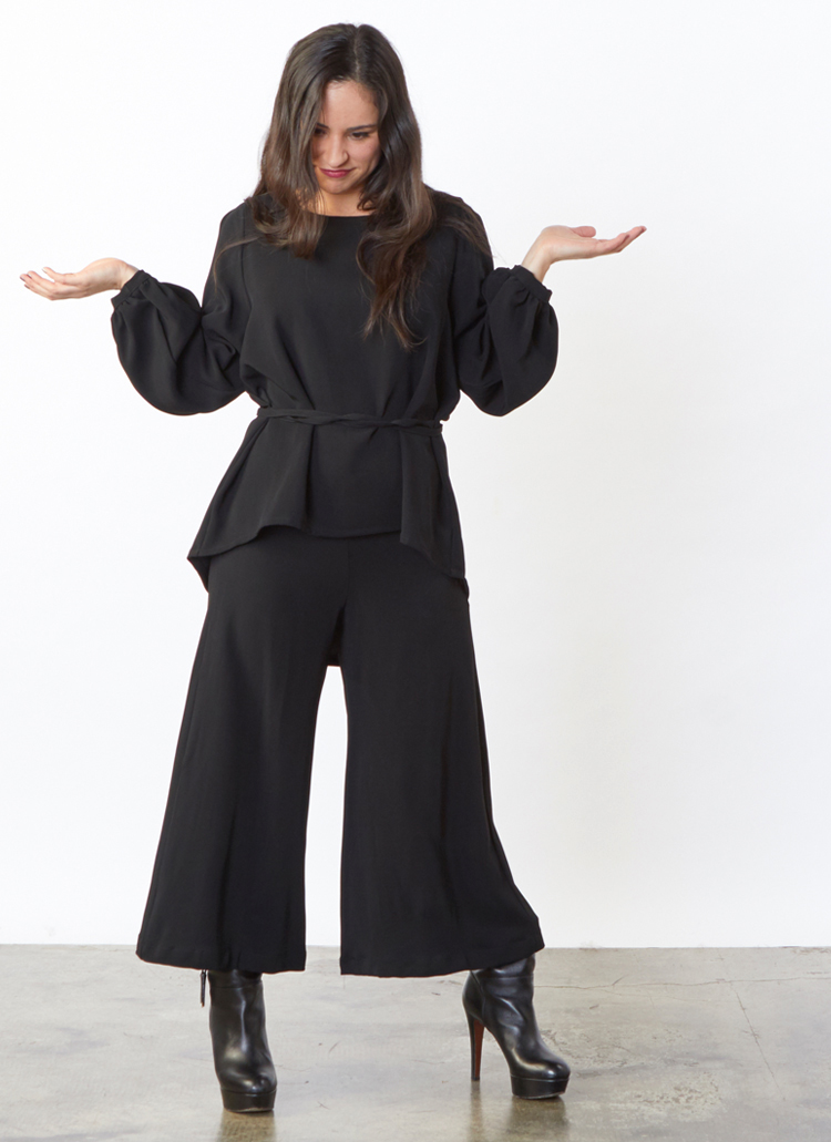 Caroline Tunic, Flat Front Ella Pant in Black Ready for Munich