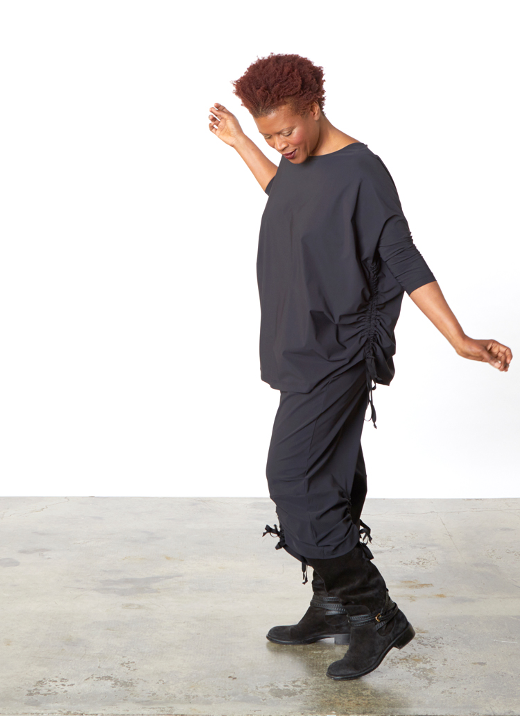 Ruched Inman Shirt, Ruched Pant in Black Microfiber Jersey