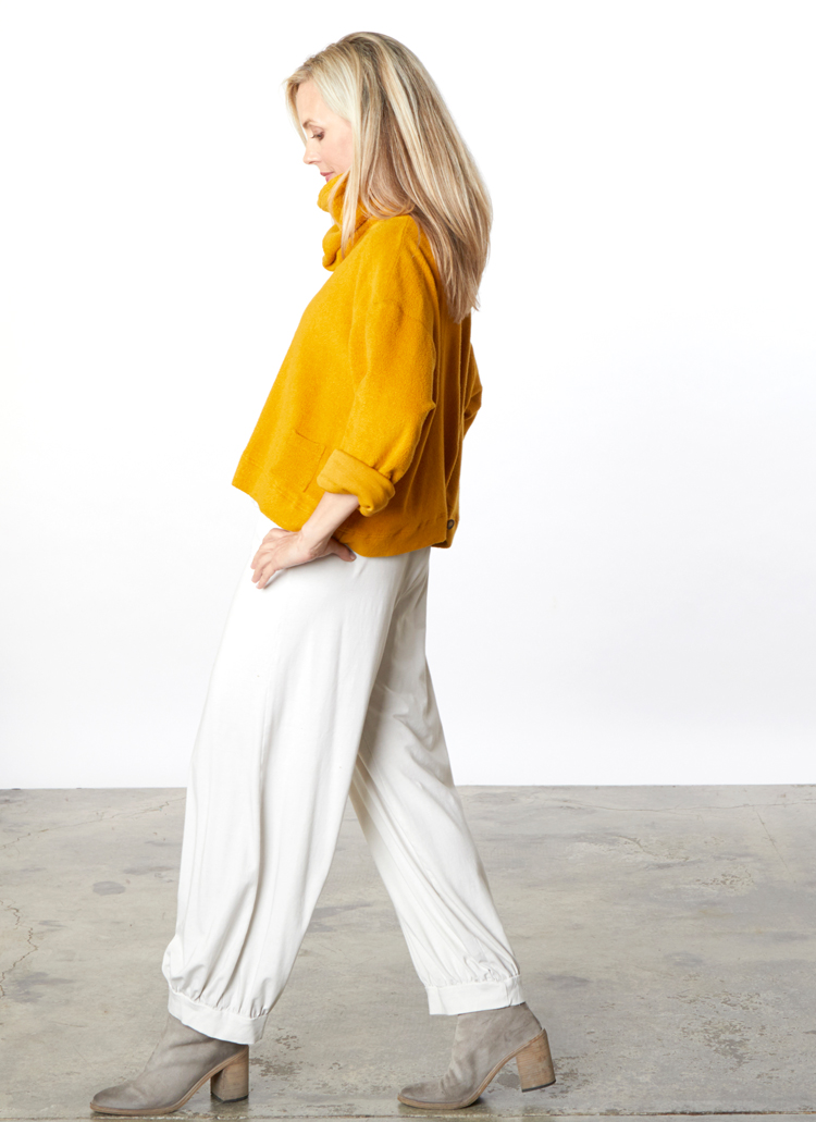 Button Back Cardigan, Cowl Scarf in Senape Terry, Long Wyatt Pant in Cream Organic Bamboo Cotton