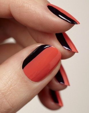 hand with red nails and black stripe