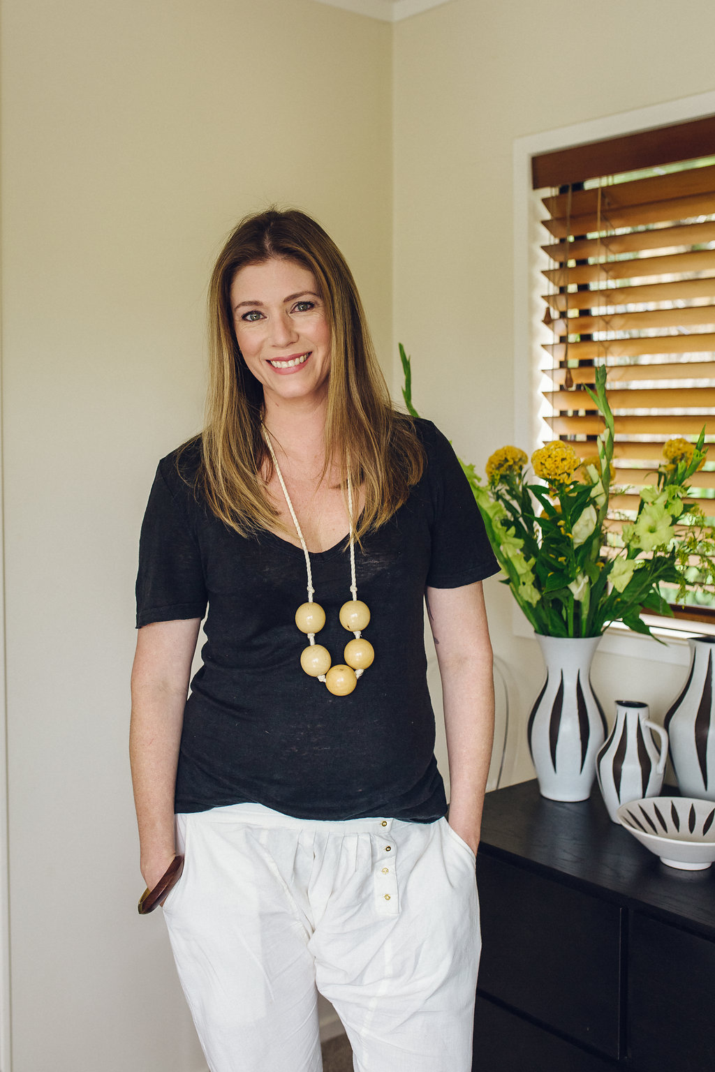Williams at home where she juggles family and business
