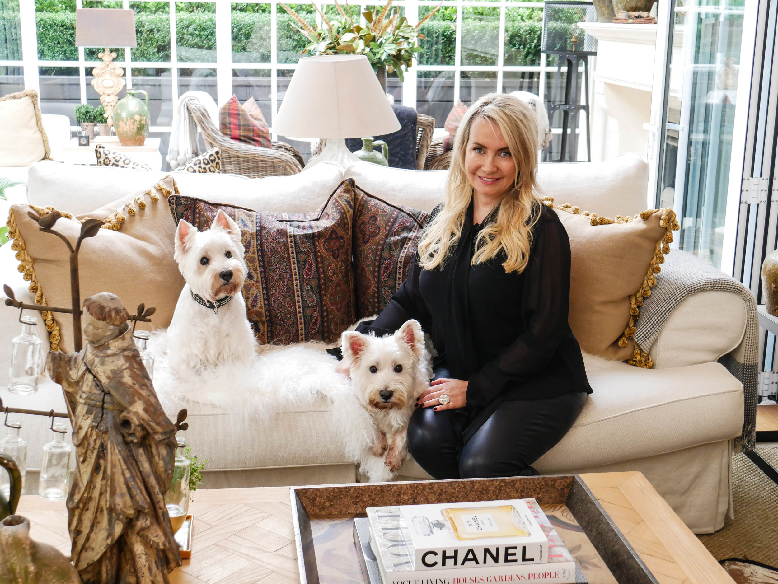 Mary Gordon at home with her west highland white terriers Dougal and Rebus.