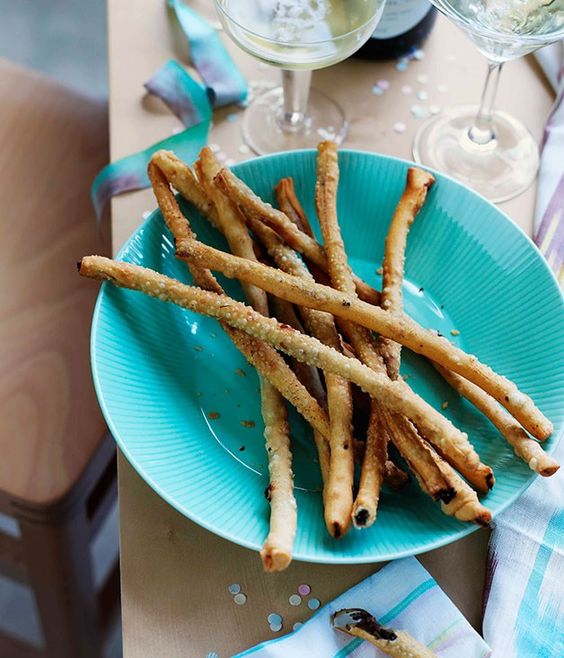 Fried stick on blue plate