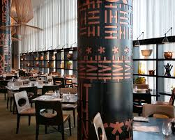 Restaurant with patterns on pole