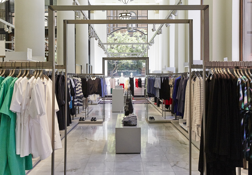 Inside a fashion retail store