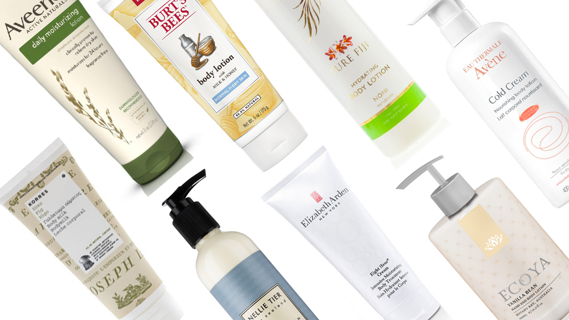A range of different body lotions arranged diagonally across a white background