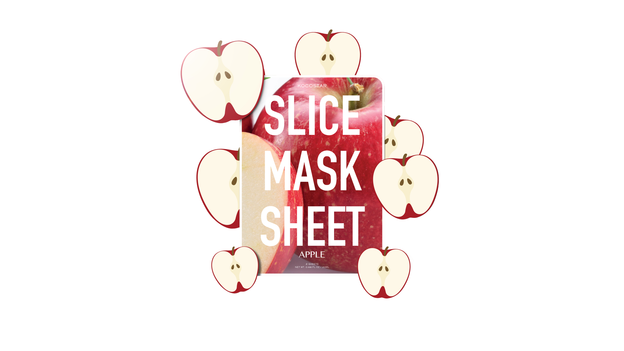 Slice mask sheet surrounded by apple slices