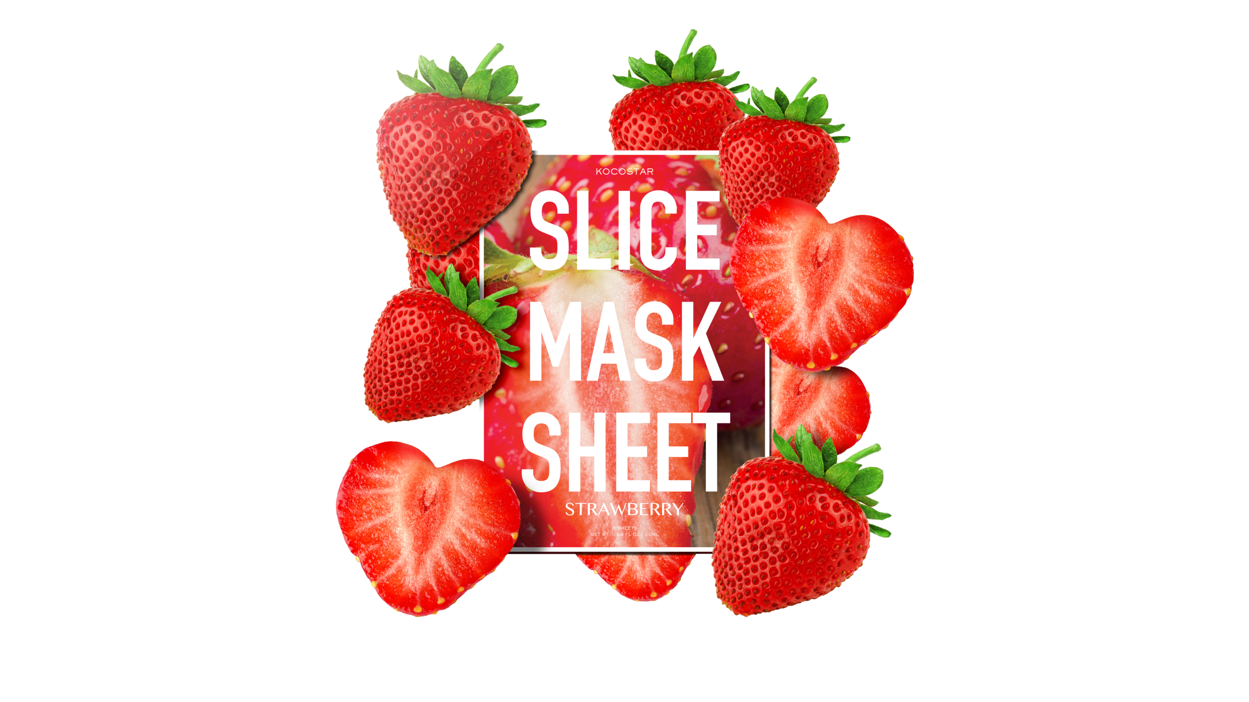 Slice mask sheet surrounded by slices of strawberries