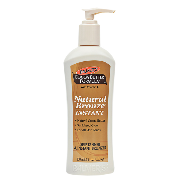 Palmers Cocoa Butter Natural Bronze Instant in a white bottle with a brown label