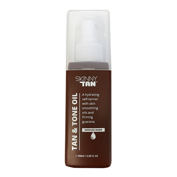Skinny Tan Tan & Tone Oil in a brown bottle with white labelling and a white lid
