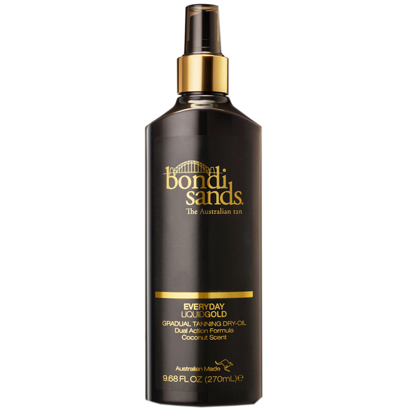 Bondi Sands everyday liquid gold in a black bottle with gold labelling