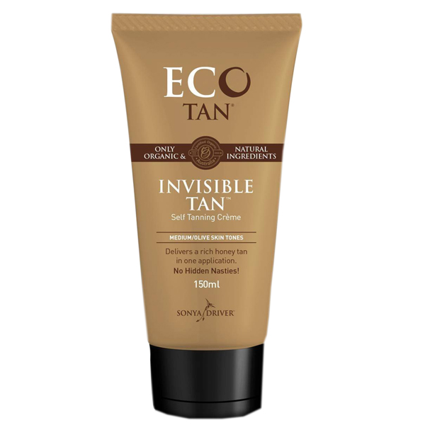 Eco tan invisible tan inside a brown bottle with white and dark brown labelling and a black lid