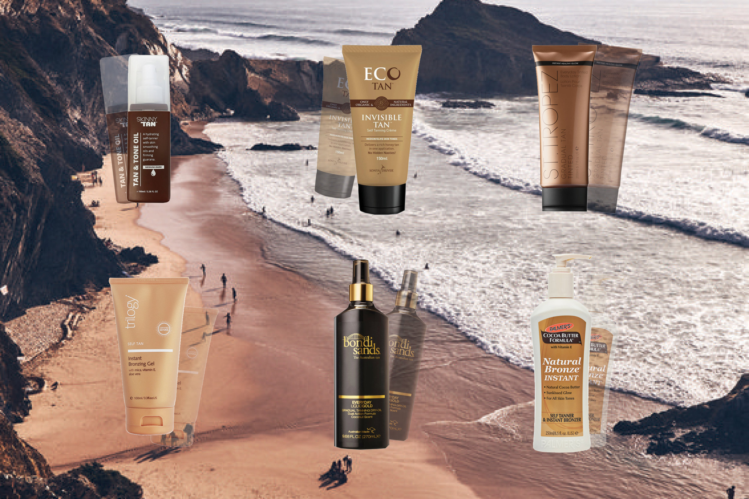 Several different tanning products spread out against a background of a mountainous beach from a birds eye view