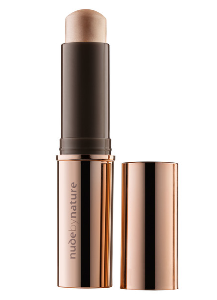 Nude by Nature bronzing stick open with lid next to bottle