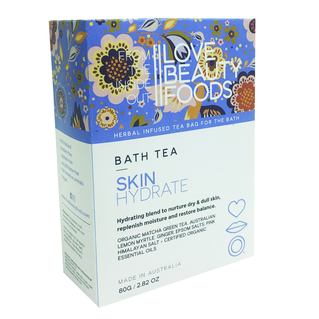 Love Beauty bath tea bag soak in blue and white box with floral patterns on the top half of the box