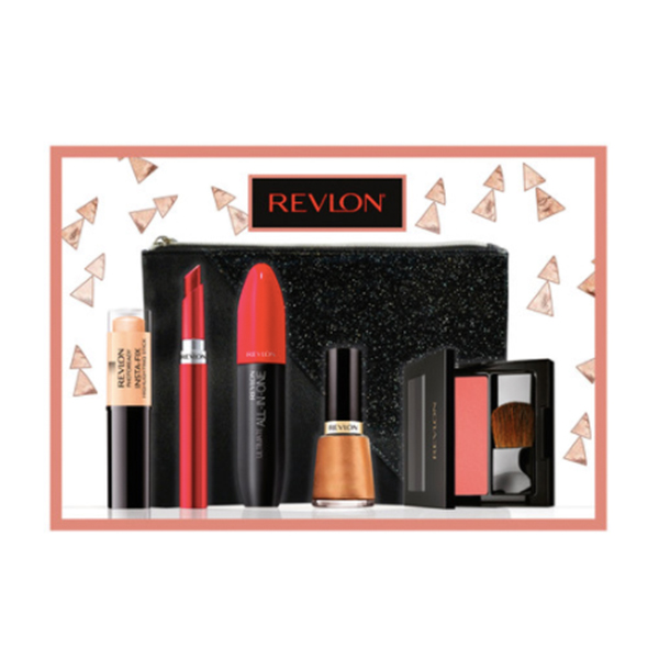 Revlon naughty Christmas gift set with products lined up against a shimmering black bag and pink and white triangular background