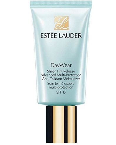 Estèe Lauder DayWear Sheer Tint Release Multi-Protection Anti-Oxidant Moisturizer SPF15 in blue and gold bottle