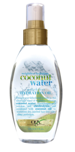 OGX Coconut Water Weightless Hydrating Oil in clear bottle with gold lid