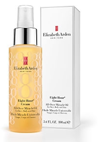 Elizabeth Arden Eight Hour Cream All-Over Miracle Oil in gold bottle next to white packaging