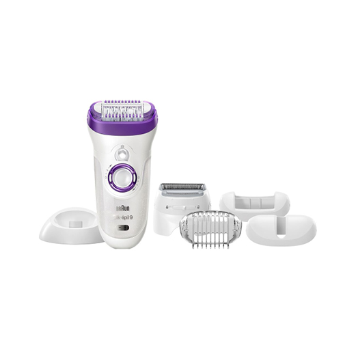 A purple and silver  Braun  Silk. Epil9 Wet & Dry Epilation and Exfoliating System