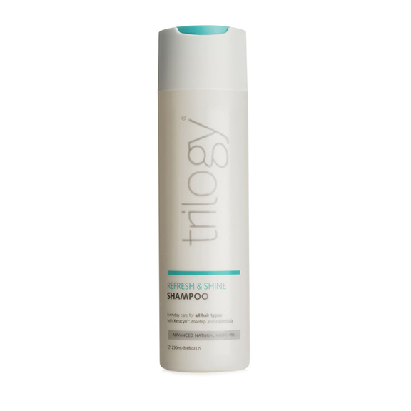 Trilogy  Refresh and Shine Shampoo in white bottle