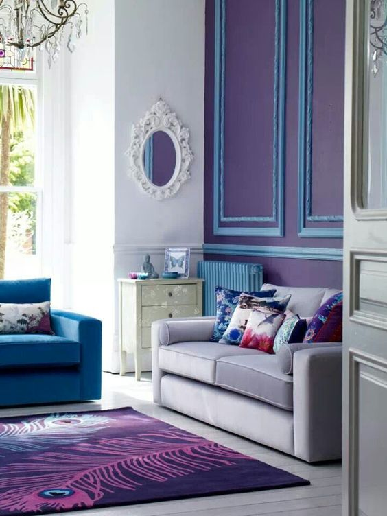 Room with blue and purple walls and rug