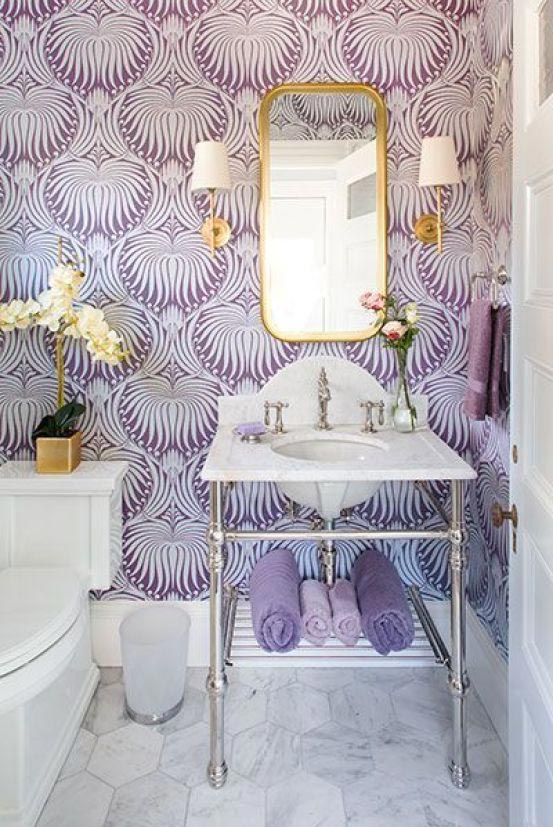 Purple bathroom with patterns on the wall