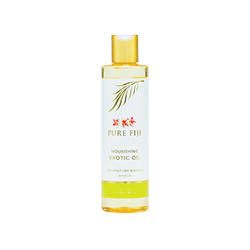 Pure Fiji  Coconut Lime Blossom Exotic Bath & Body Oil in white and green bottle