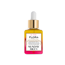 Sunday Riley  Flora Face Oil in pink and yellow bottle with gold lid