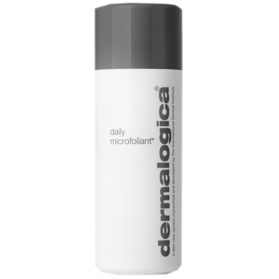 Dermalogica daily microfoliant in a white and grey bottle