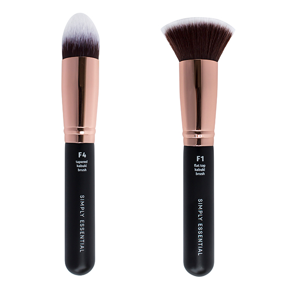 Simply Essential  Tapered Kabuki Brush and  Simply Essential  Flat Top Kabuki Brush