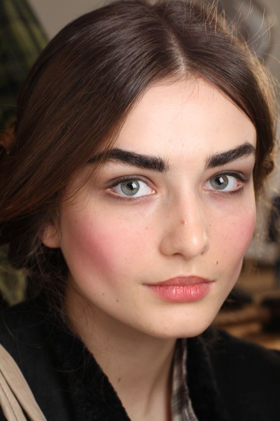 brunette model with rosey cheeks and dark eyebrows