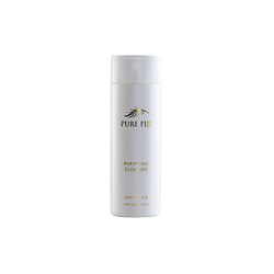 Pure Fiji purifying cleanser. A white bottle with gold writing