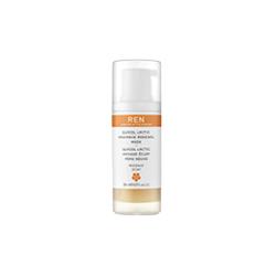 REN Glycol lactic radiance renewal mask. A white and orange bottle