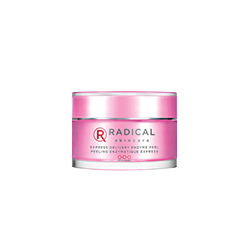 Radical express delivery enzyme peel. Grey and red writing across the hot pink bottle