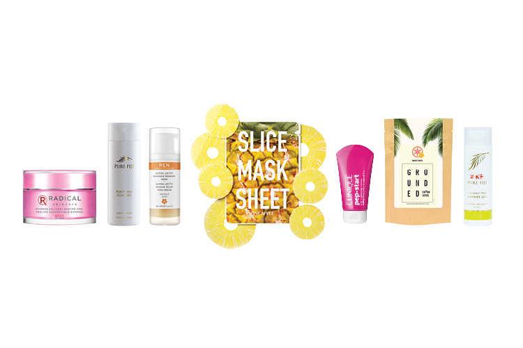 A range of seven different skin treatment products lined up next to each other