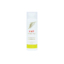 Pure Fiji coconut lime blossom shower gel. A white bottle with some gold, red and green writing